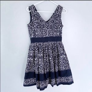 Taylor | Navy Blue & white floral full lined dress